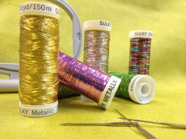 Metallic embroidery threads for terry cloth