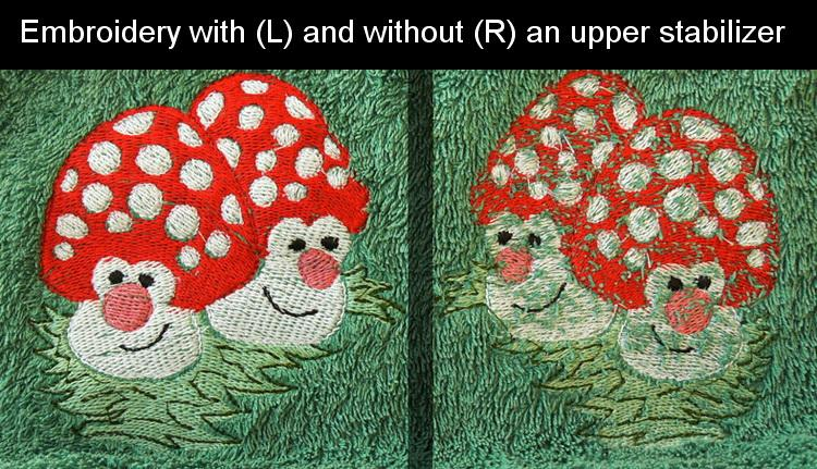 Mushrooms embroidery on terry cloth with and without stabilizer