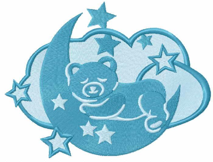 Cute sleeping bear free embroidery design
