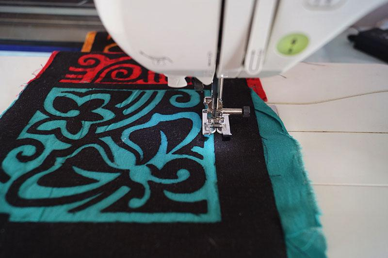 Red and blue applique pieces