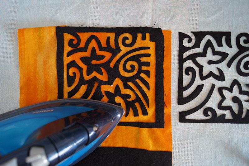 Yellow applique with iron