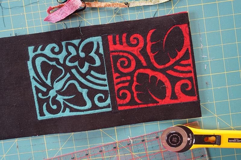 Blue and red applique