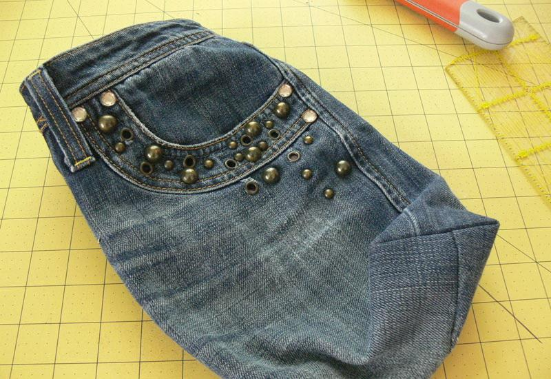 Denim bag the right side out