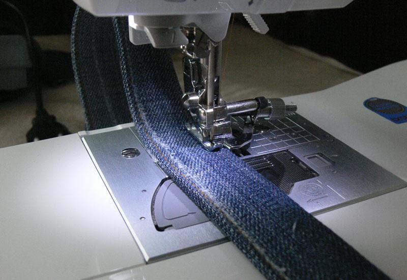 Denim bag strap under preser foot