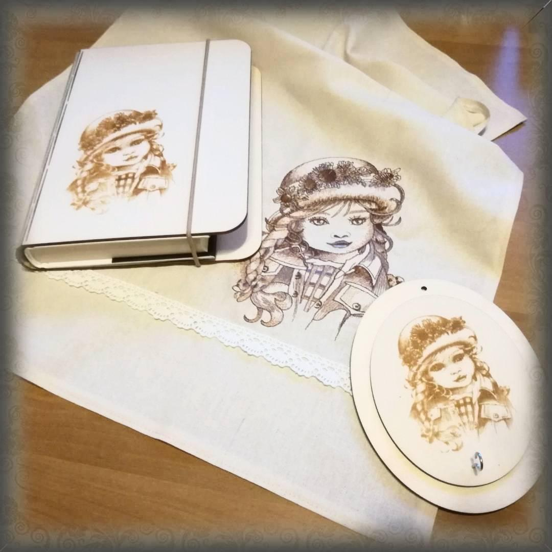 Embroidered napkin with Girl's portrait design