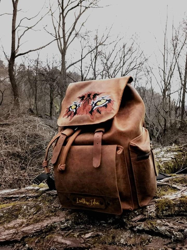 Embroidered backpack with Tiger's eyes design
