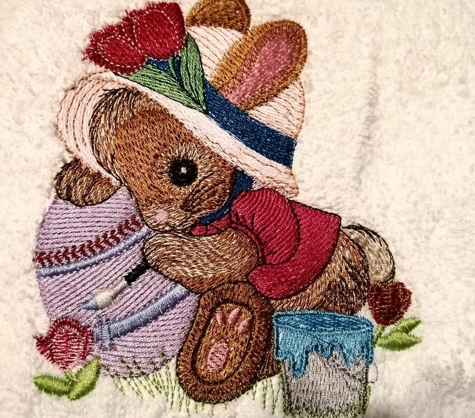 Bunny in hat embroidery design