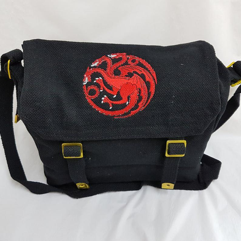 Embroidered bag with Dragon design