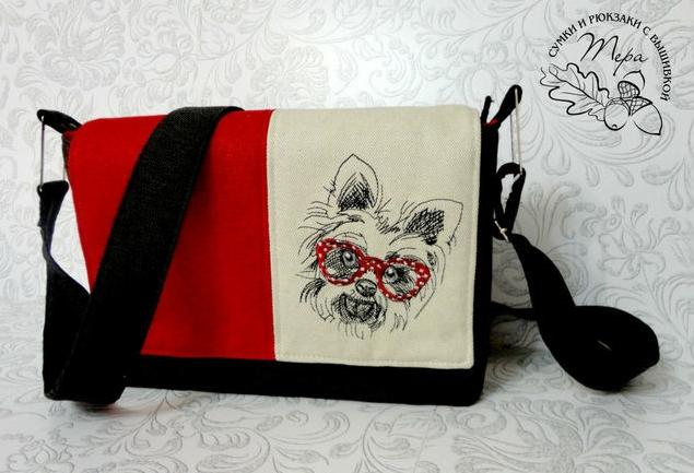 Embroidered bag with White terrier design