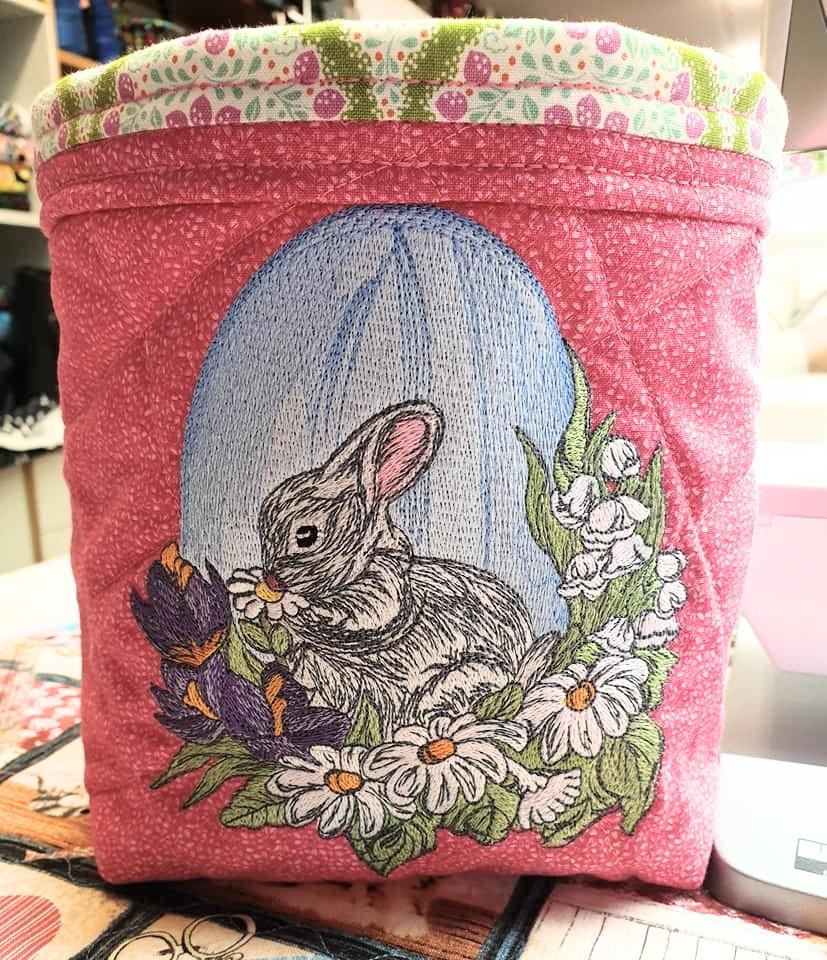 Embroidered basket with Cute bunny design