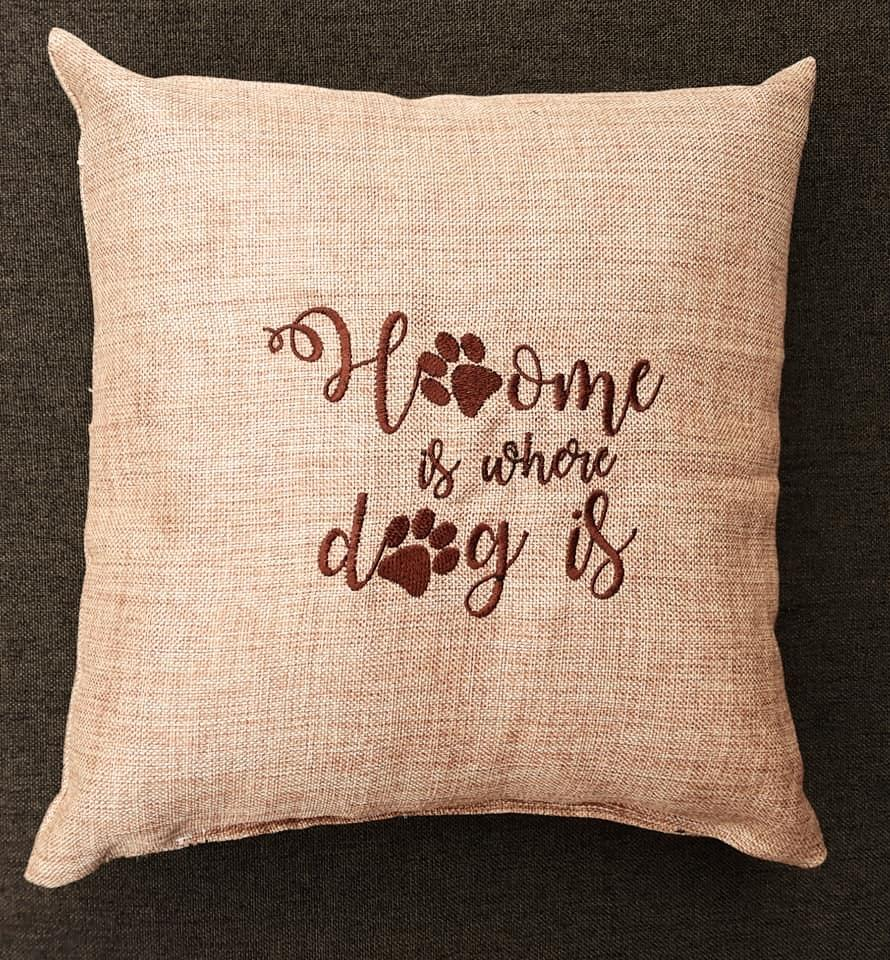 Embroidered cushion with Dog design