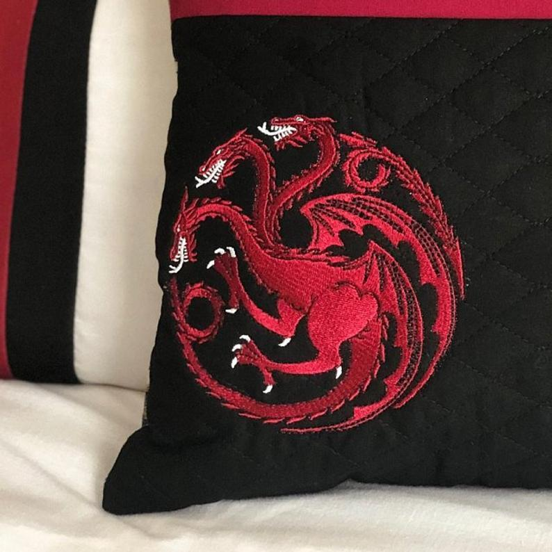 Embroidered cushion with Dragon design