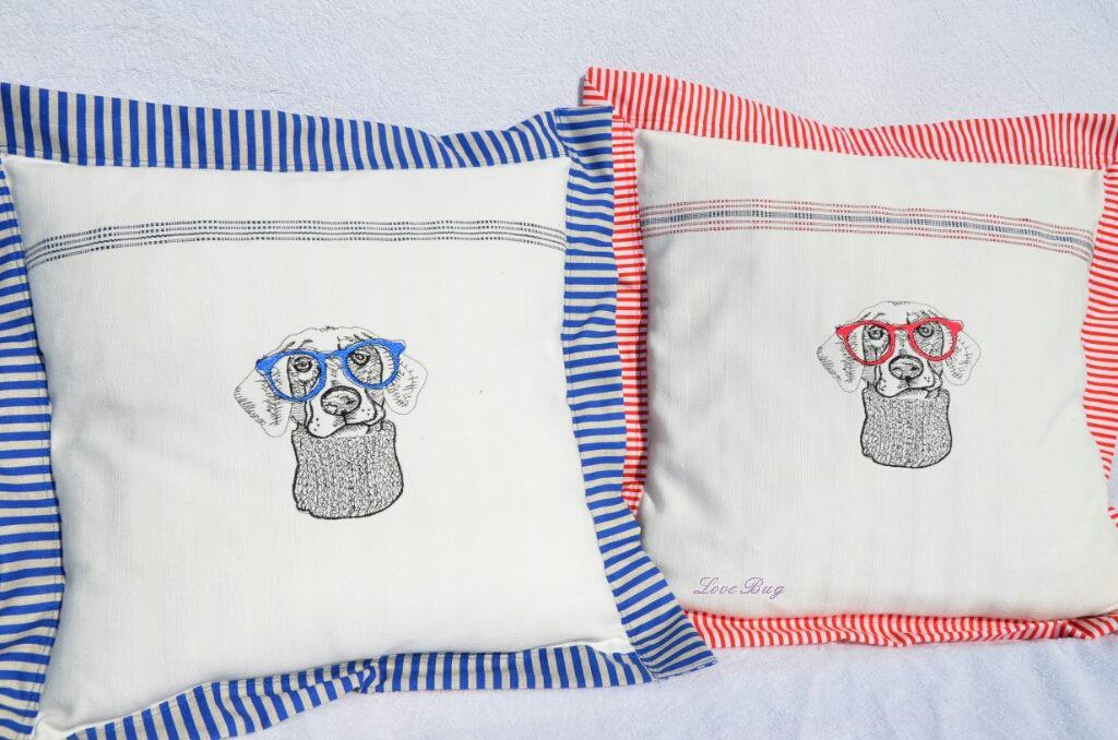 Embroidered cushions with Hipster dog design