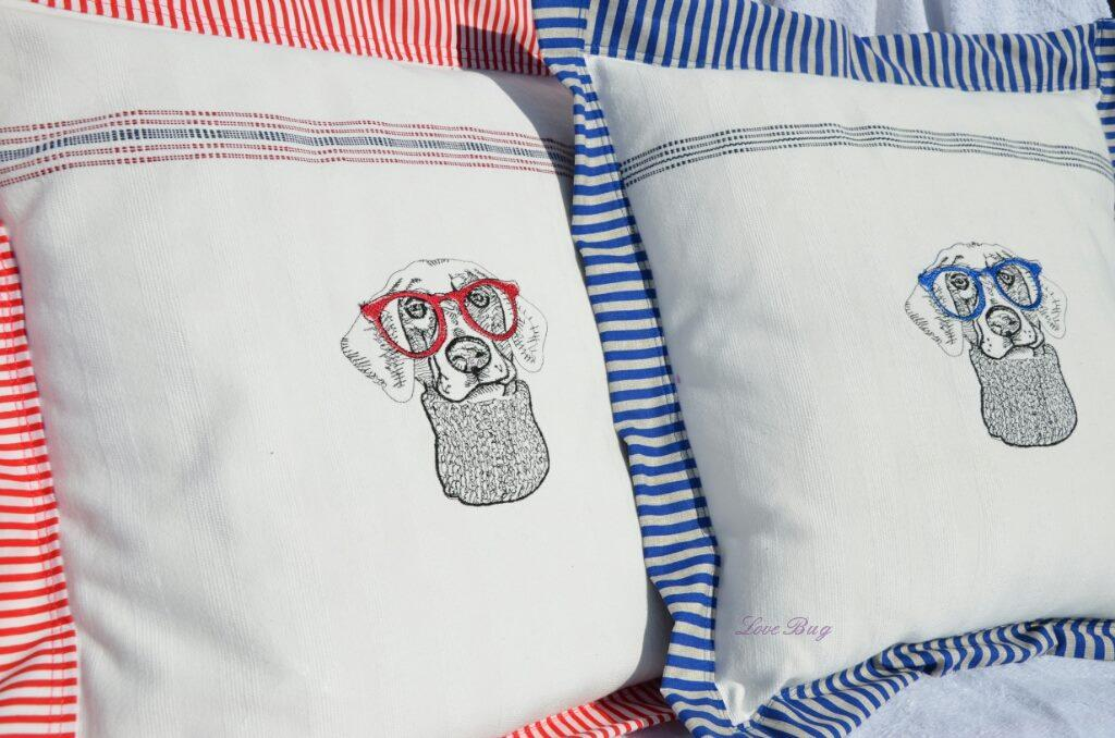 Embroidered cushions with Hipster dog embroidery design