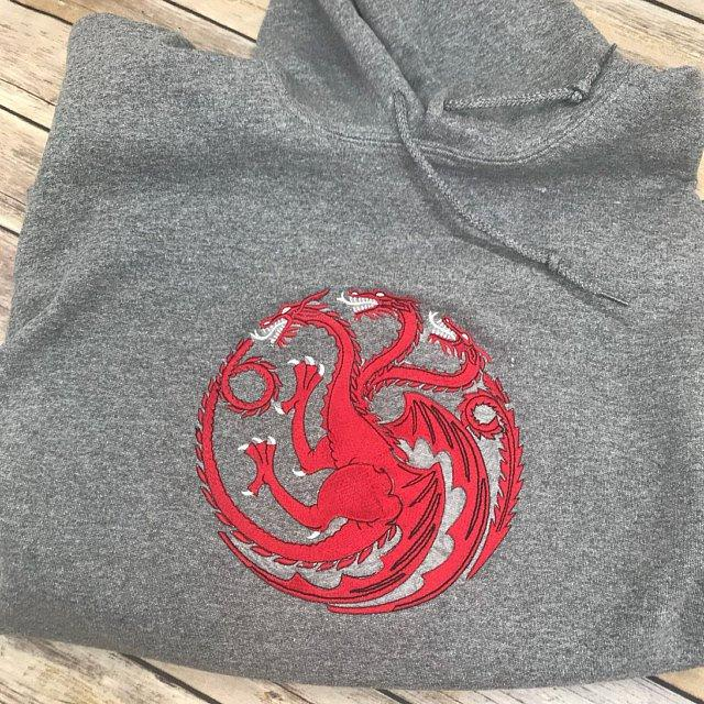 Embroidered hoodie with Dragon design