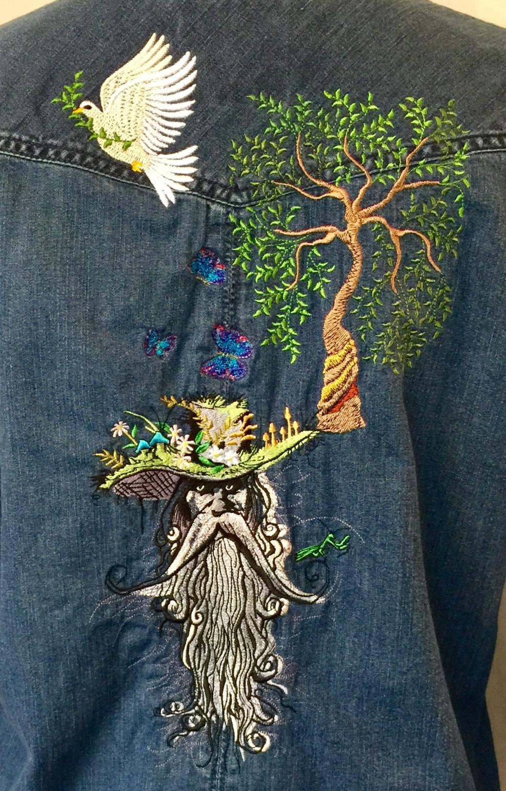 Embroidered jeans shirt with Root man design