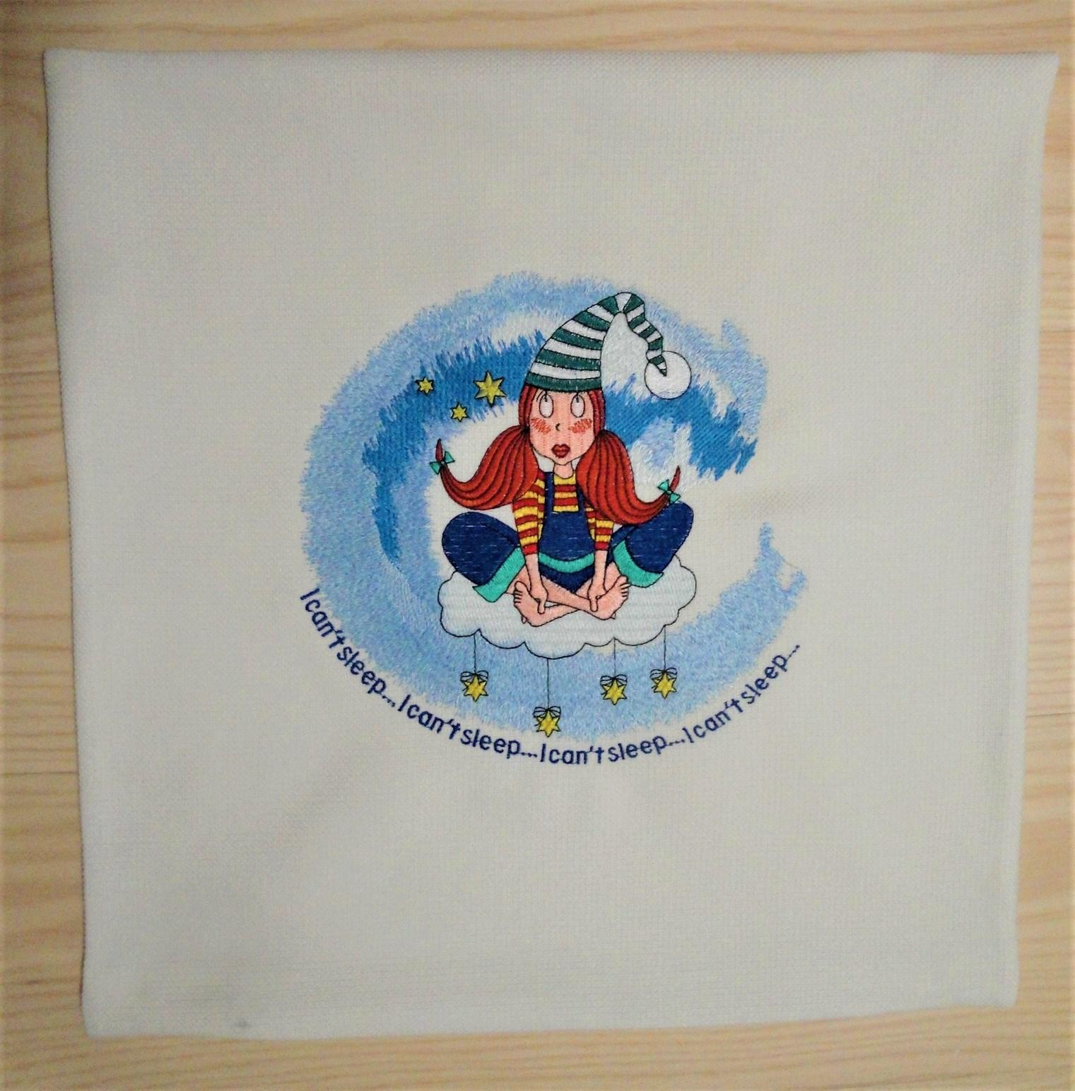 Embroidered pillowcase with Girl in sky design