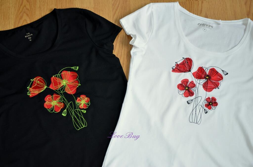 Embroidered t-shirts with poppies design