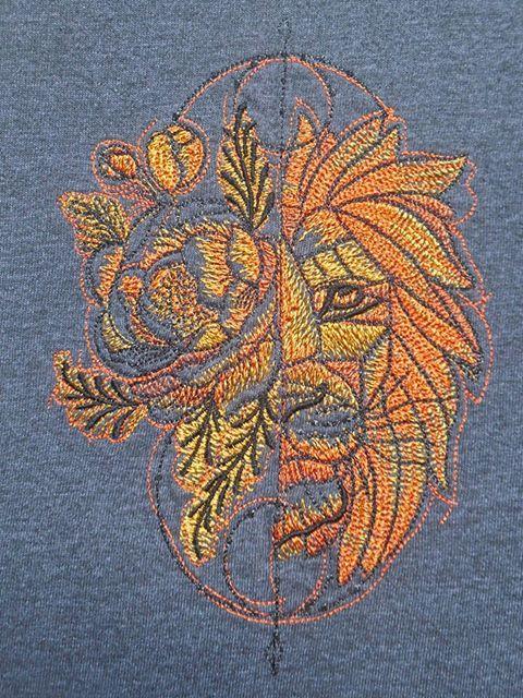 Fantastic lion embroidery design