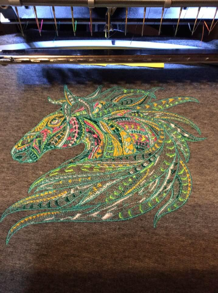 In hoop Mosaic horse embroidery design