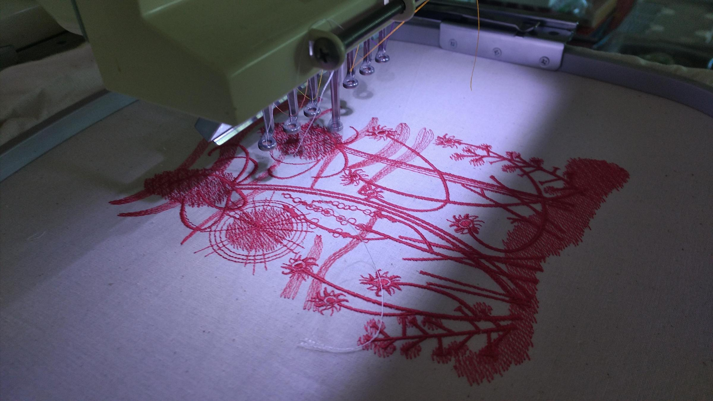 Embroidery process summer field design