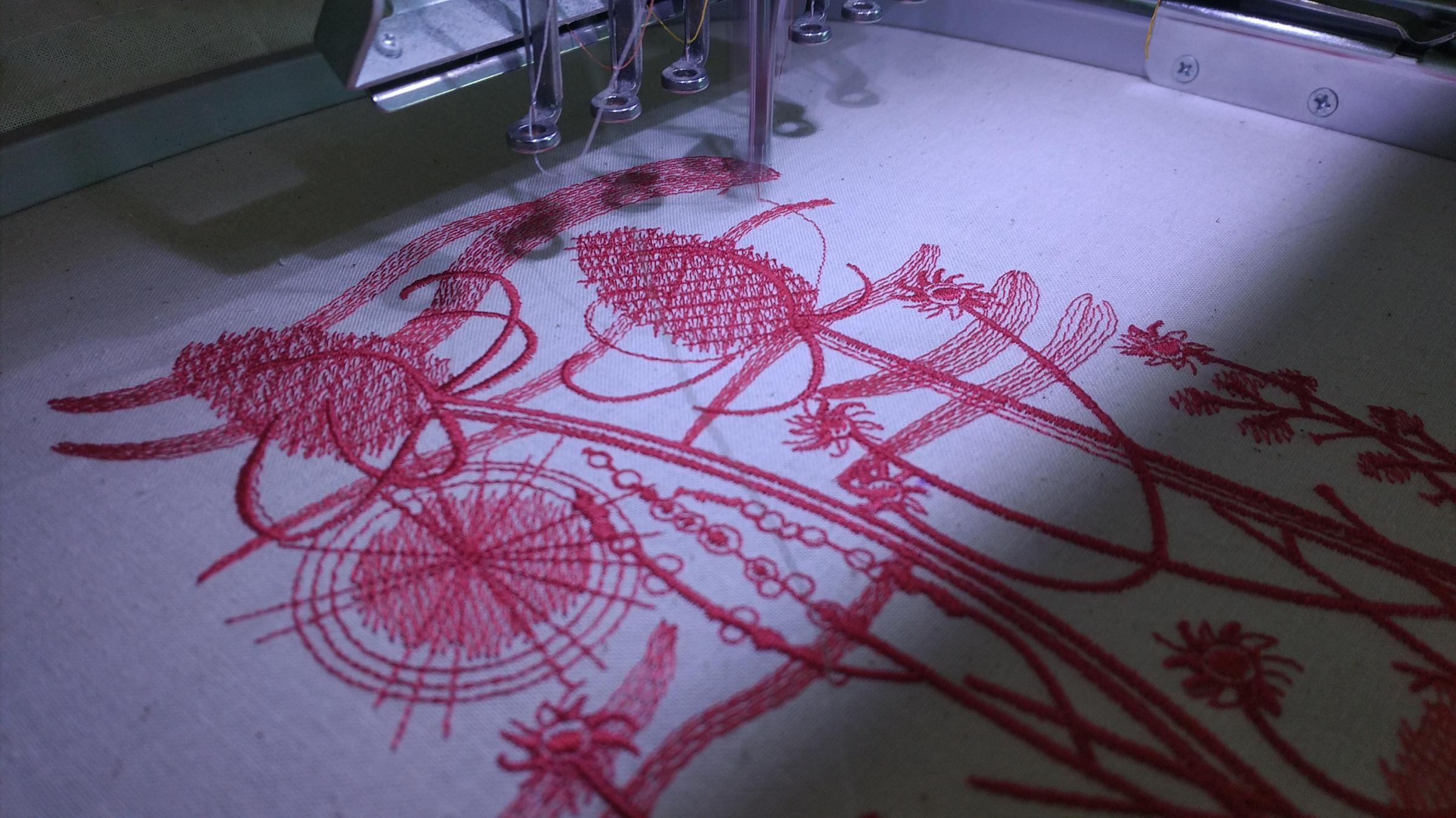 Summer field embroidery design in sewing machine