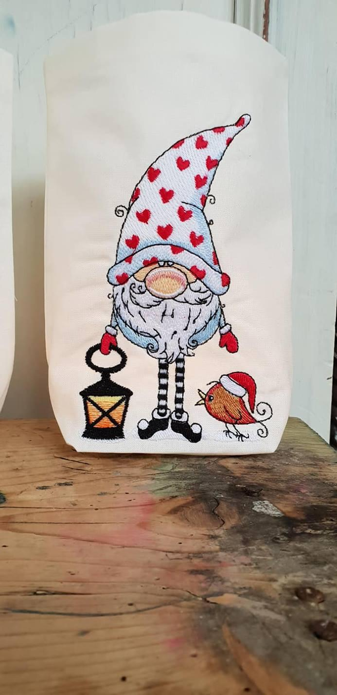 Textile basket with Gnome in cap design