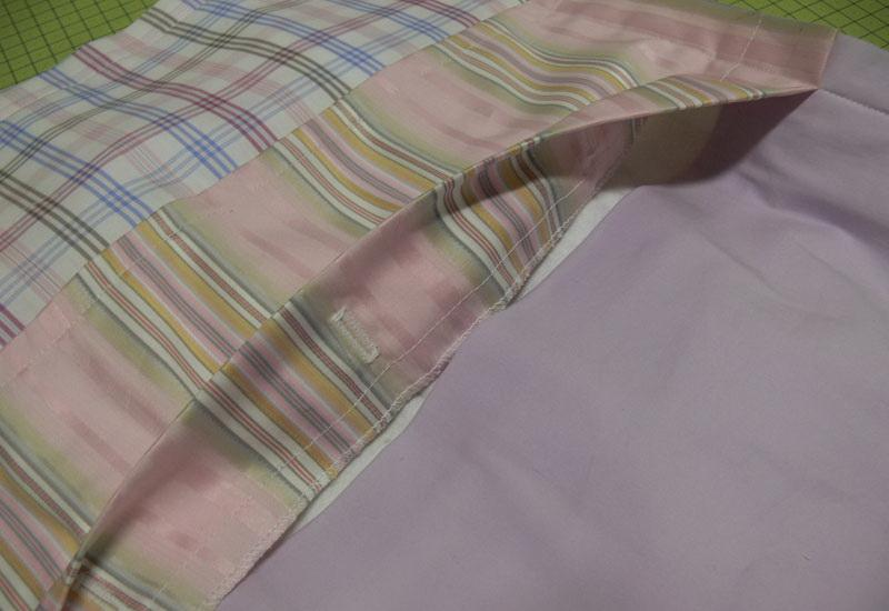 Patchwork pillowcase hem with buttonhole