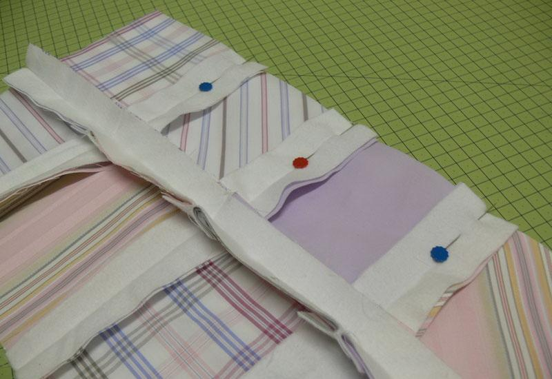 Stripes of fabric pinned crosswise
