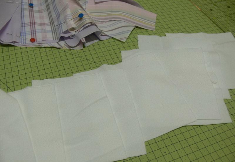 Square fabric pieces pinned together