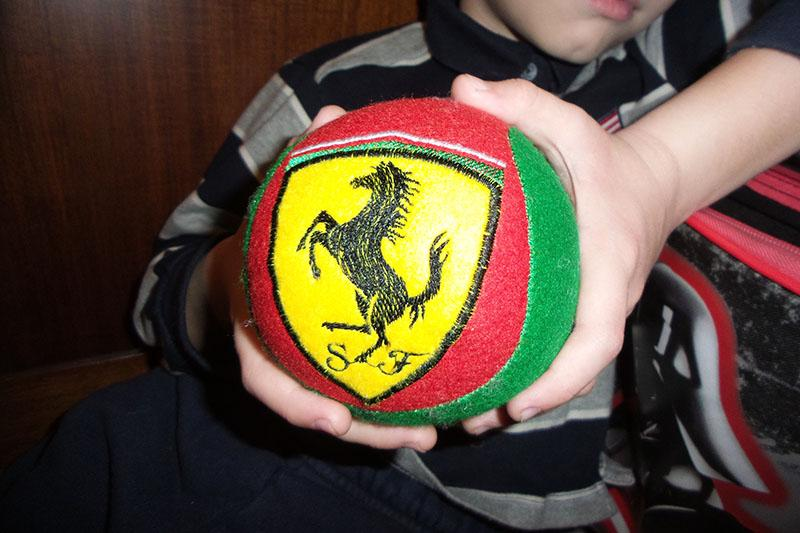 Red, green and yellow soft ball with embroidery