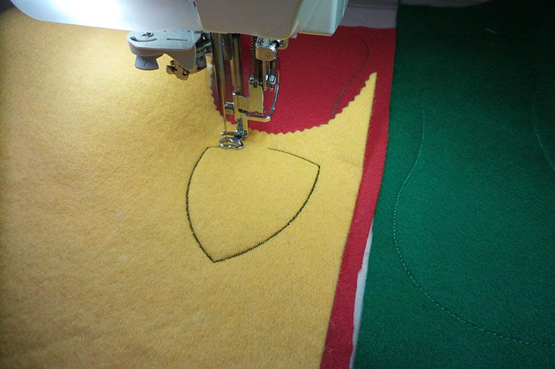 Trace of a logo on a yellow fabric
