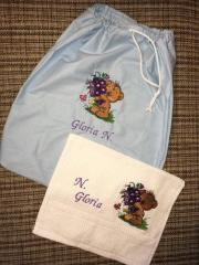Embrodiered set with Bouquet for you design