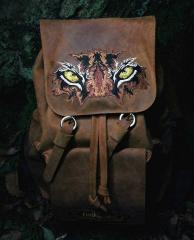 Embroidered backpack with Eyes of tiger design