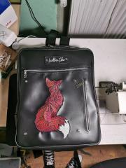 Embroidered backpack with Mosaic fox design