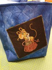Embroidered basket with Sewing mouse design