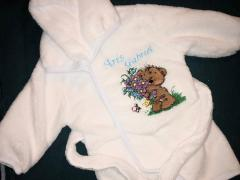 Embroidered bathrobe with Teddy bear with flowers design