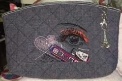 Embroidered cosmetics bag with Makeup design