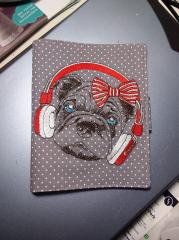 Embroidered cover with Dog in headphones design