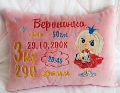 Embroidered cushion with Cute princess design