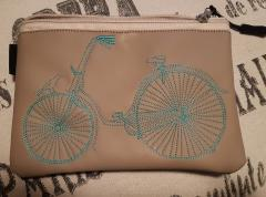 Embroidered handbag with Bicycle design