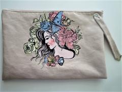 Embroidered handbag with Flower girl design