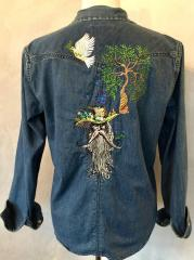 Embroidered jeans jacket with Rootman design