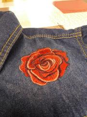 Embroidered jeans jacket with Rose design