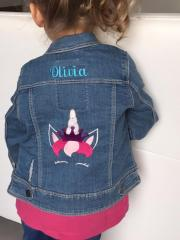 Embroidered jeans jacket with Unicorn design