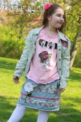 Embroidered jeans set with Flowers design