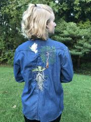 Embroidered jeans shirt with Rootman design