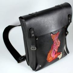 Embroidered leather bag with Mosaic fox design