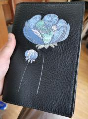 Embroidered leather cover with Flowers design
