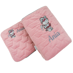 Embroidered pillowcase and blanket with Teddy bear girl design